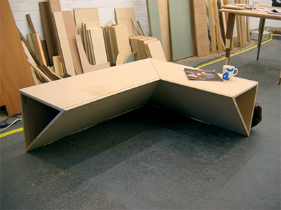 Corner Bench 06 2004 Mdf, timber, screws 1200 × 1000 x 430mm,  Unique