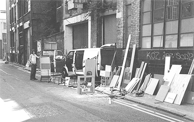The street workshop in a little dark back street in East London
