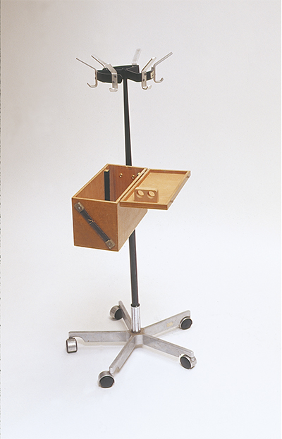 Hanging Box Kitchen Trolley 2002 Chair base, coatstand, wooden box 300 x 1500 x 450mm,