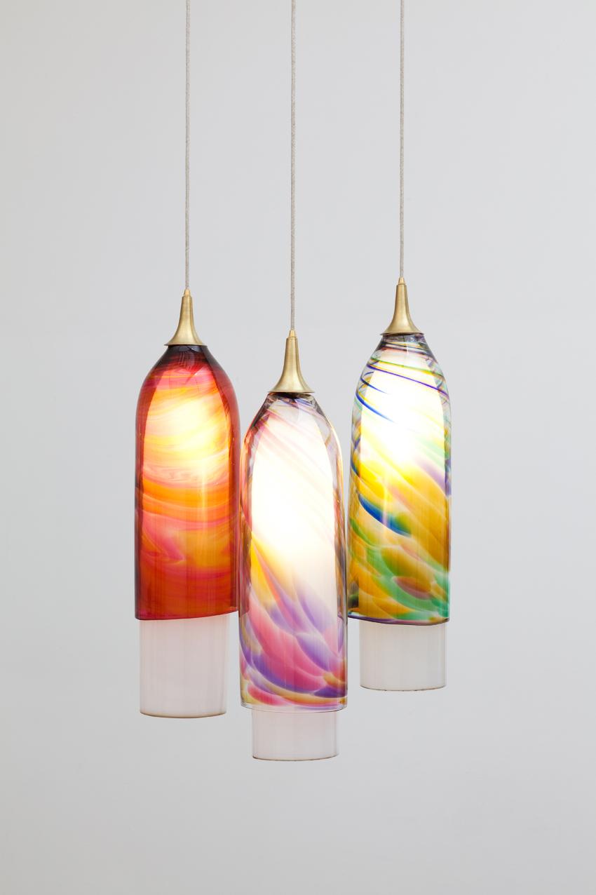 Muffel Glass, 2013 glass, spun brass, light fittings