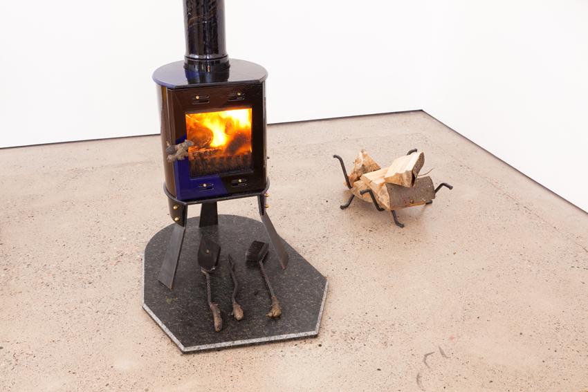 Firelit, 2013 enamelled cast iron stove, steel legs, cast bronze