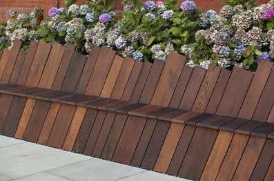 Infinity Bench 2012, thermally modified American red oak, soft maple, ash, yellow birch and tulipwood