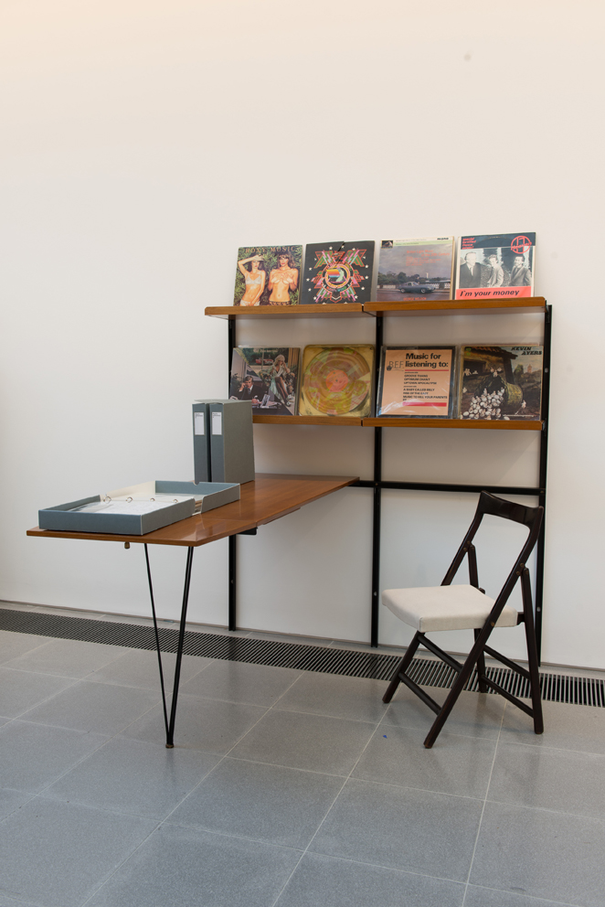 Osvaldo Borsani Integrated modular shelving unit and desk, Model E22 1947-1955 Desk: walnut-veneered wood, painted metal, brass Chair: stained wood, fabric Courtesy of Galleria Rossella Colombari, Milan – Italy Objects courtesy of Paul Neale