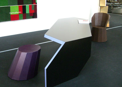 Hexagone Table 2007, Layered polar frame, laminated in 3 colours, waxed ebony edge.