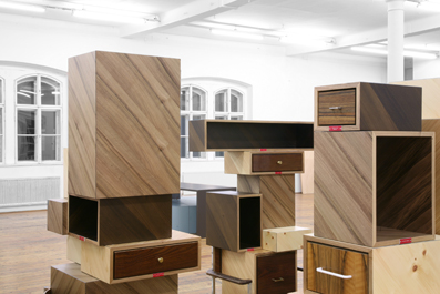 Collective No. 1-5 2008 Site specific arrangement comprising various new and re-appropriated drawers and shelvings, black MDF, walnut veneer, ash veneer, zirm wood veneer, engraved aluminium labels. Various sizes
