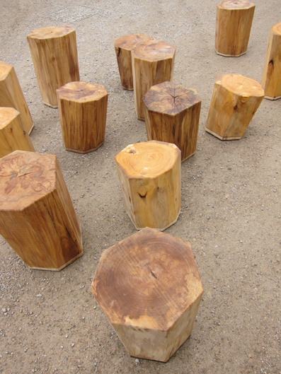 Stump Stools 2010 Lime wood felled from Calke Abbey