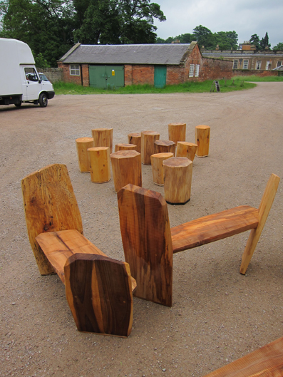 Calke Benches & Stump Stools 2010 Lime wood felled from Calke Abbey