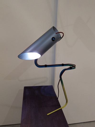 Composizioni  2011 Anodised aluminium lamp,rapid prototyped components, fabric cable, purple chest drawers