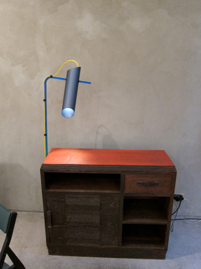 Composizioni 2011 Anodised aluminium lamp,rapid prototyped components, fabric cable, red chest drawers