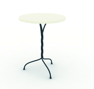 Vigna Table 2011 Frame in steel rod, cataphoretically-treated and painted in polyester powder, top in Werzalit Ø600 x 470 x 730mm/ Ø600 x 520 x 730mm