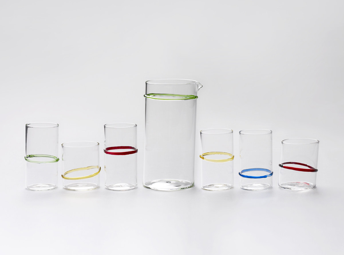 In Vino Veritas: Carafe & Tumblers, 2010 Handmade glass carafe, 4 tall and 2 short tumblers (various colours/clear)