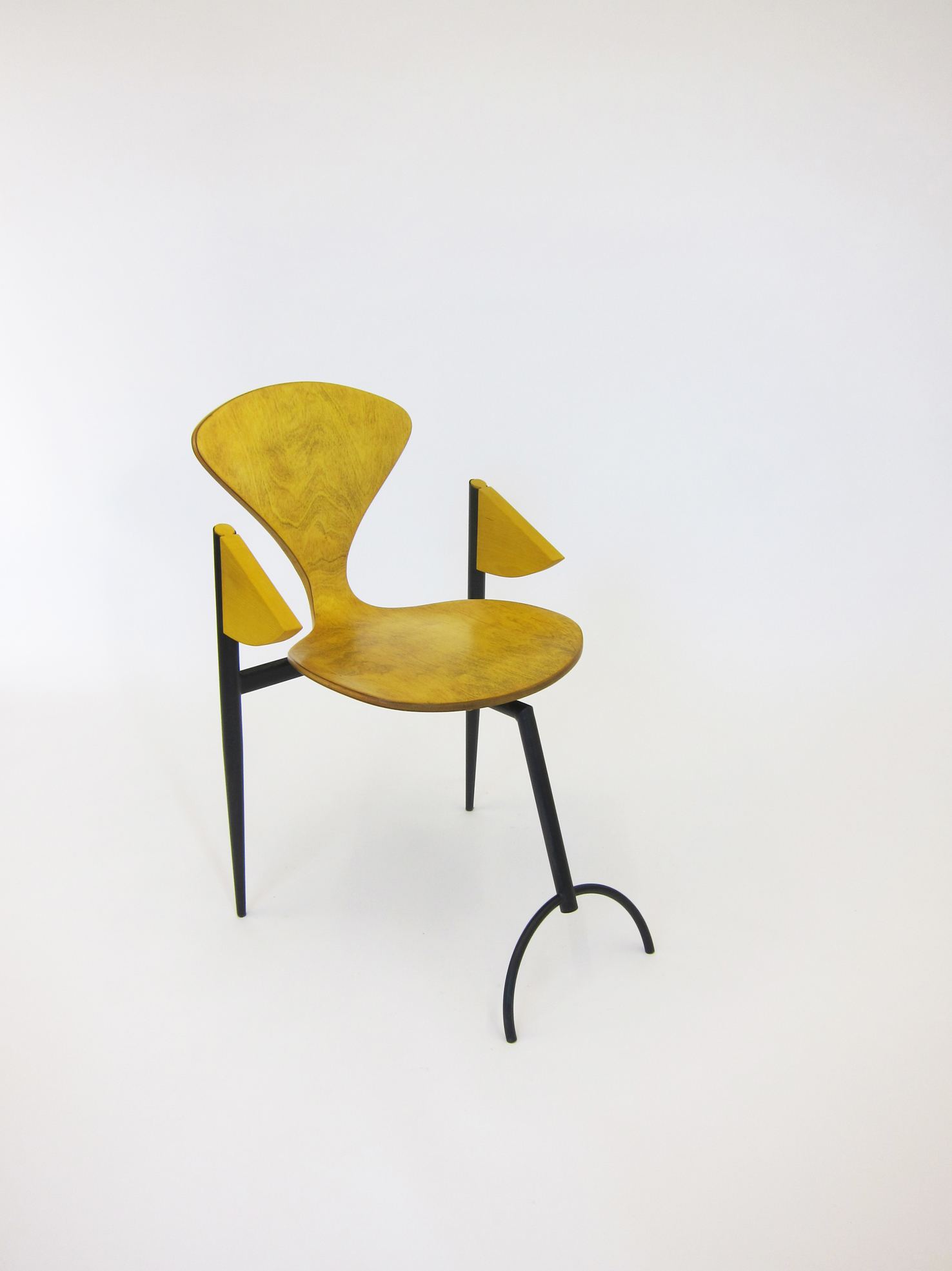 Yellowed Chair, appropriated plywood chair, metal frame, 81 x 51.5 x 65 cm