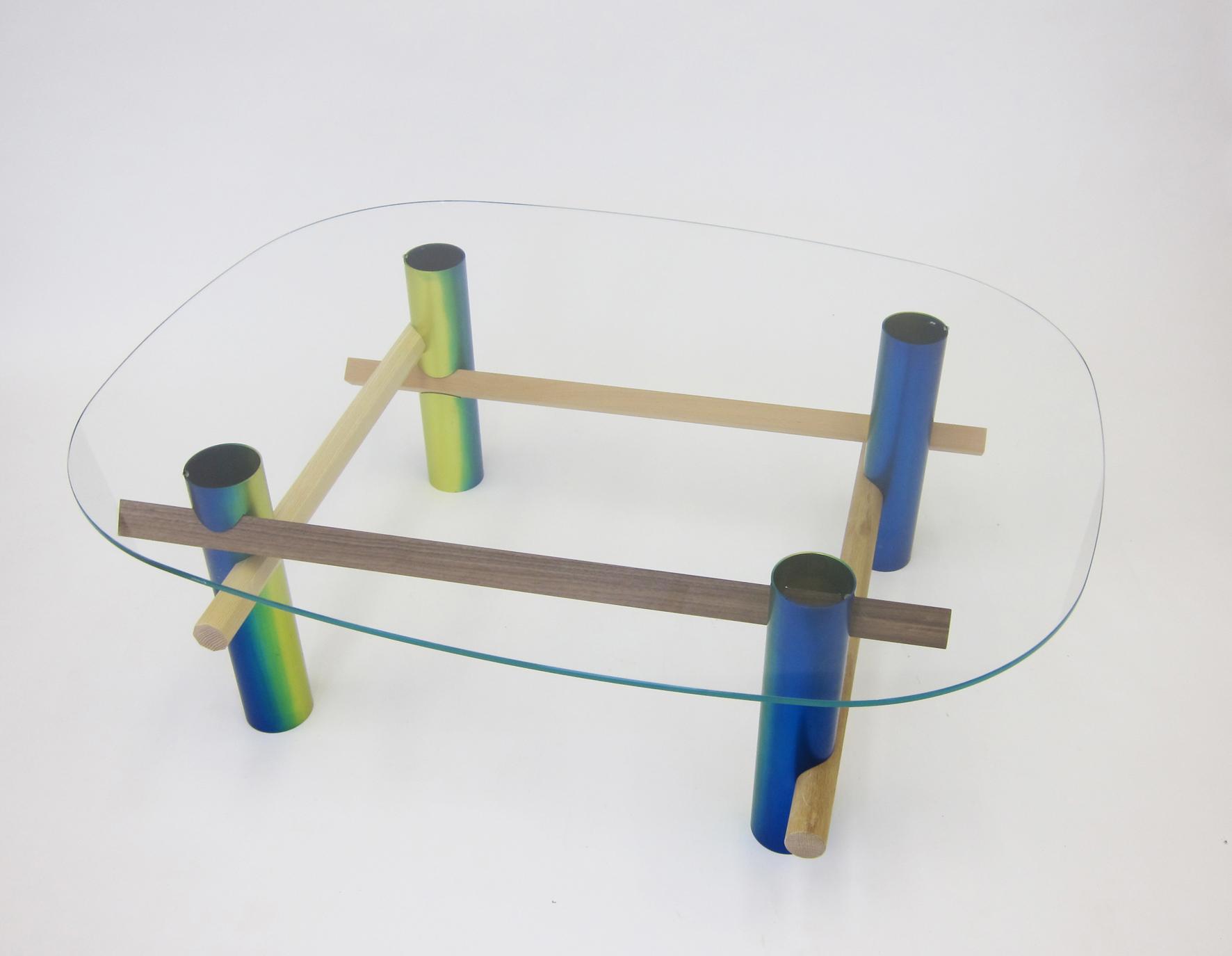 xyz Coffee Table (Rainbow), anodised aluminium tube, beech, walnut, oak, ash, tempered glass