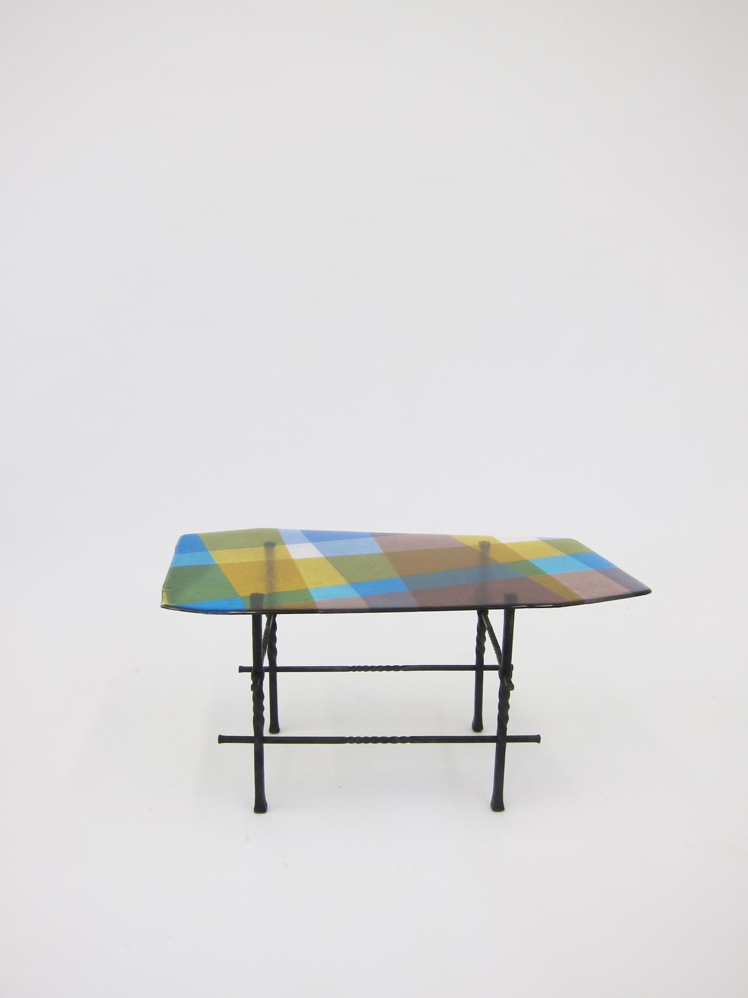 Fusione Colorato #01, wrought iron, coloured fused glass, 43 x 88 x 48 cm