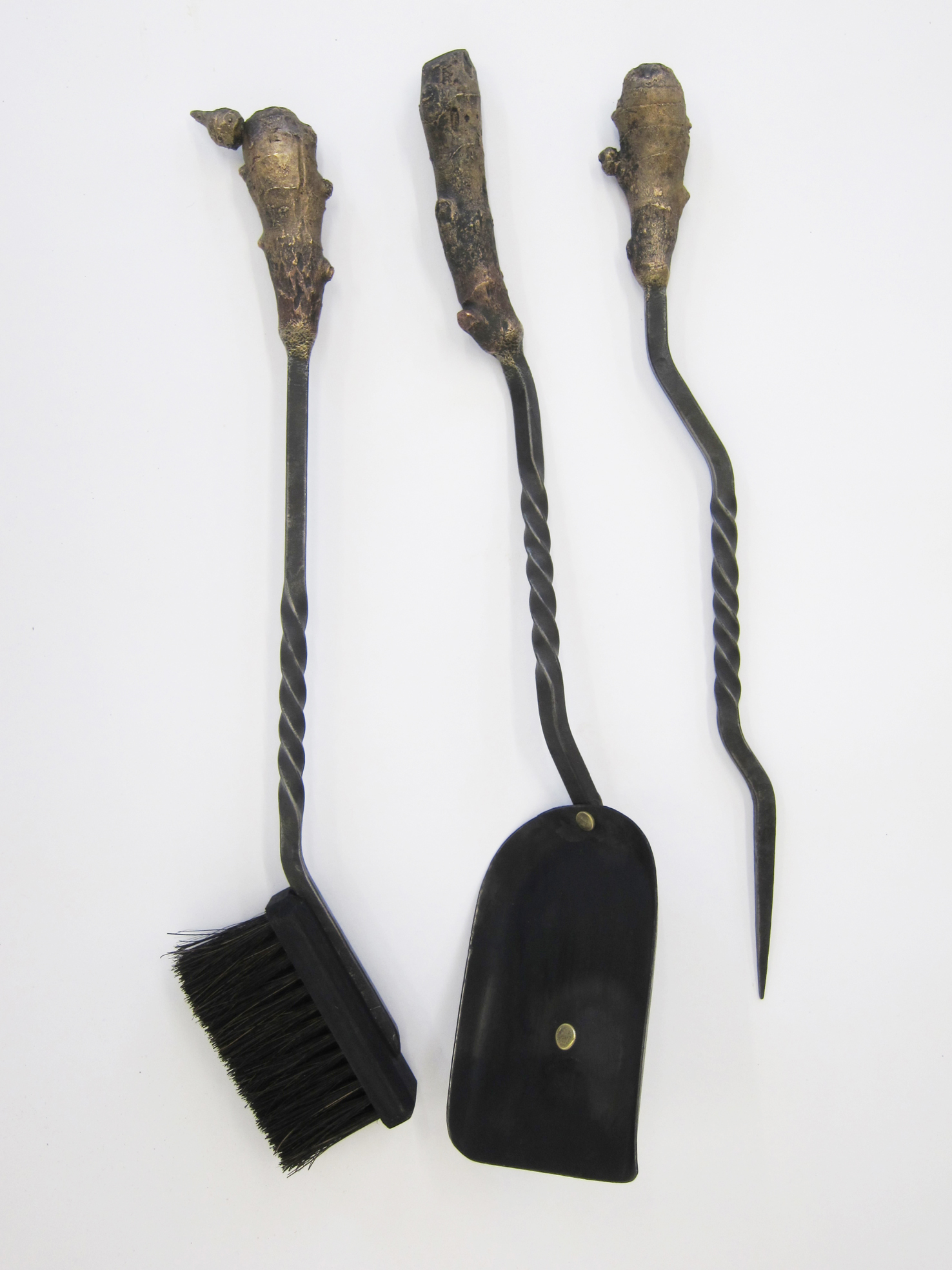 Ginger Threesome, wrought iron, cast bronze, shovel 11 x 21 x 52cm /poker 8 x 4 x 45 cm /brush  25 x 4 x 51 cm