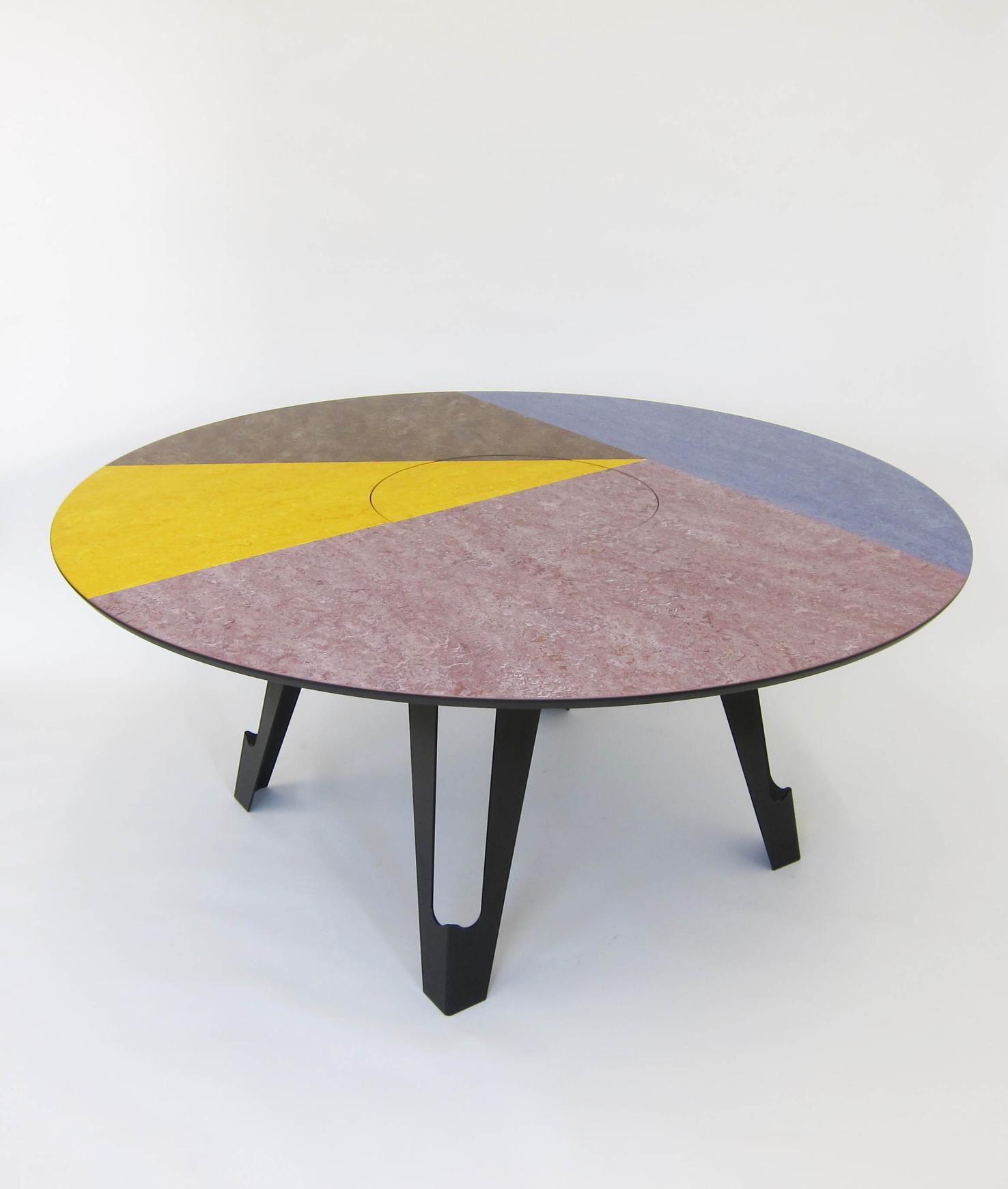 Fragmental Dining Table, linoleum, high density board, powder coated steel legs, 75 x 170 x 170 cm