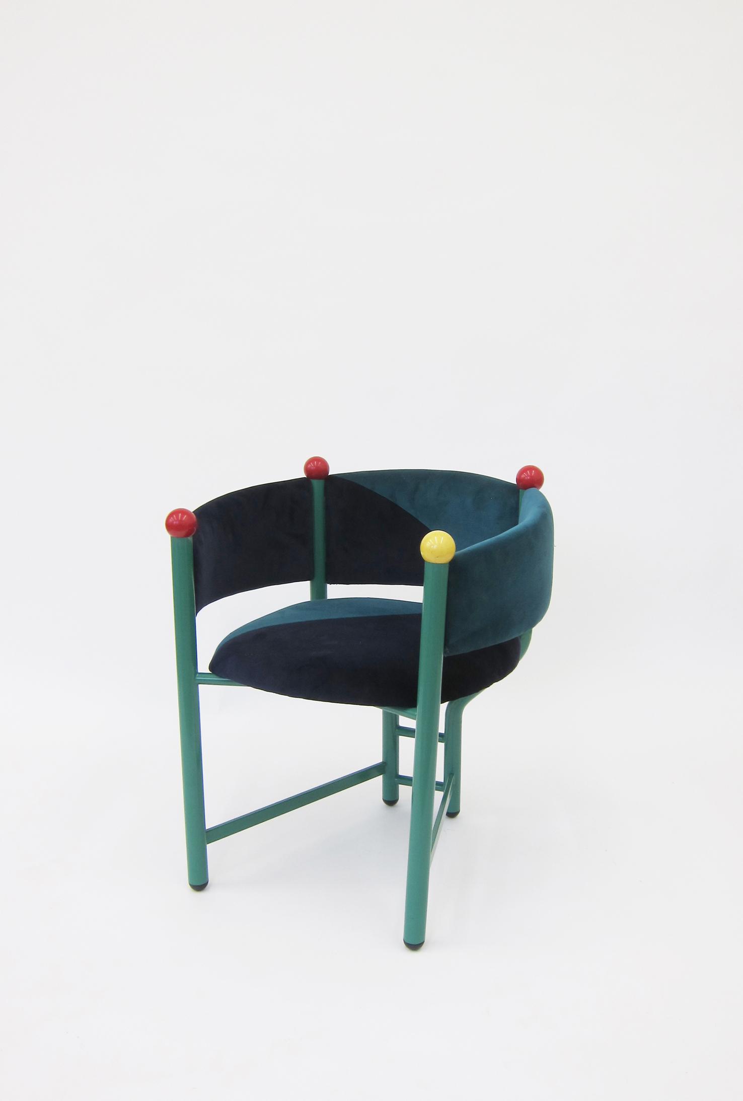Pagliaccio Chair, metal frame, upholstery, billiard balls, 73 x 63 x 64 cm