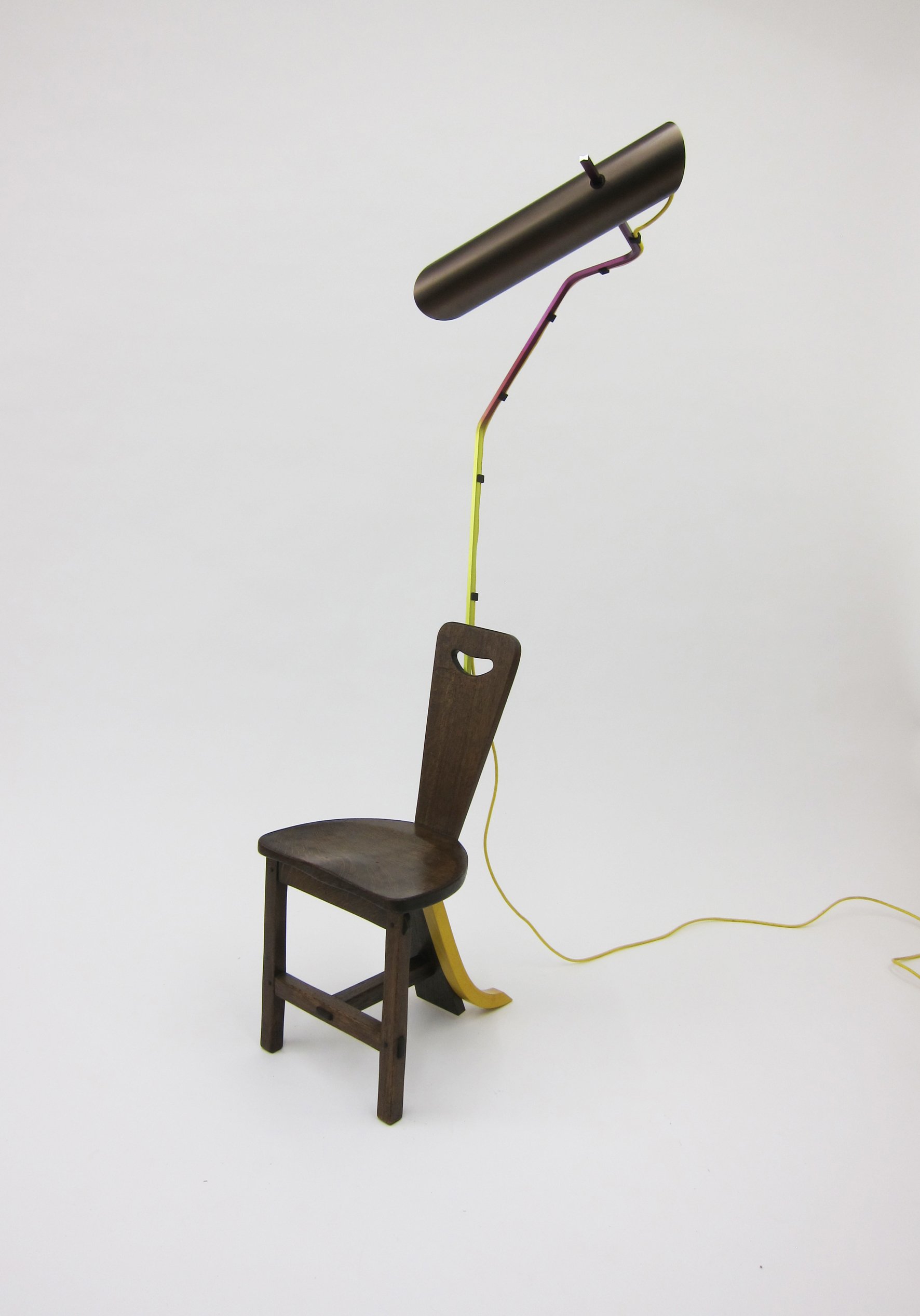Composizioni with reading chair, appropriated chair, extruded aluminium light, 171 x 50 x 65 cm