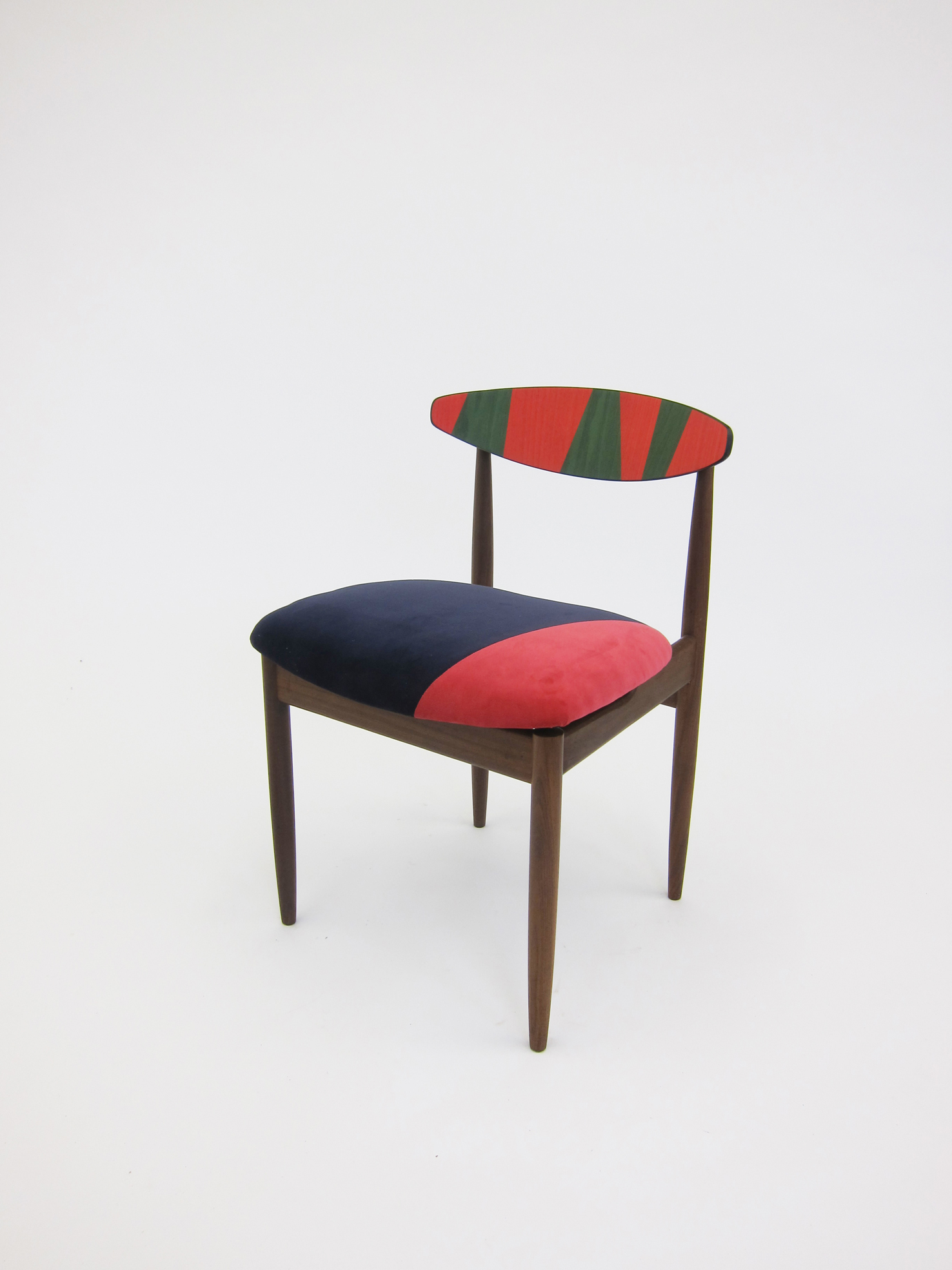 Friends, carved appropriated teak chairs, velvet upholstery, veneer, 76 x 51 x 52 cm