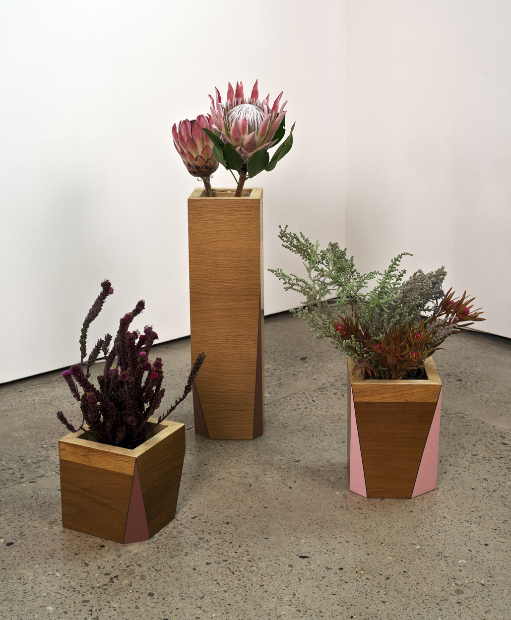 Cuttings, 2008 Vases made from reclaimed laminated wood, glass insert