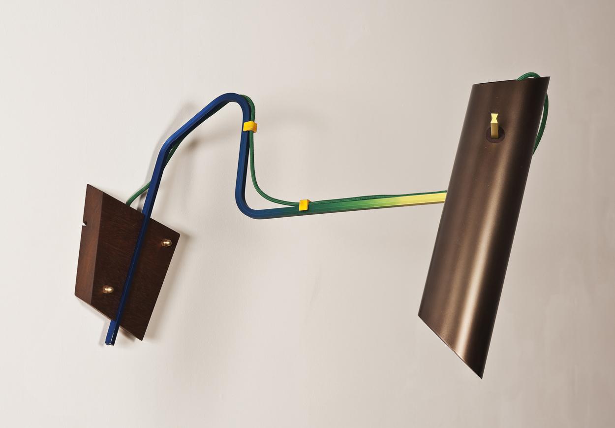 Composizioni, 2013 Anodised aluminium lamp,rapid prototyped components, fabric cable, teak